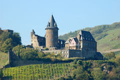 Historical Castle Stahleck, Germany. Historical Castle Stahleck with Vineyards in front of it, Germany stock photography
