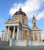 Historical  Cathedral of SUPERGA built above the city of Turin i Royalty Free Stock Image