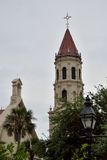 Historical Catholic Basilica. Historic Church and Steeple Tower in St. Augustine, Florida Stock Photography