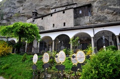 Historical cemetery in Salzburg, Austria. The Petersfriedhof, or St. Peter's Cemetery, is the oldest Christian graveyard in Salzburg, dating back to 1627. It is Royalty Free Stock Images