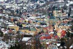 Historical center of Banska Stiavnica as seen from eastern hill near calvary, during winter season 2018 stock images