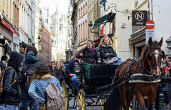 Historical center of Brussels is crowded by tourists Royalty Free Stock Photos