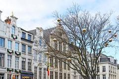 Historical center of Brussels with trees decorated for Christmas Royalty Free Stock Photo