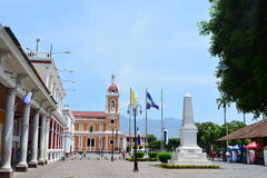 Historical center and the cathedral of Granada, Nicaragua Stock Photography
