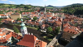 Historical center of Cesky Krumlov. Timelapse View stock video footage