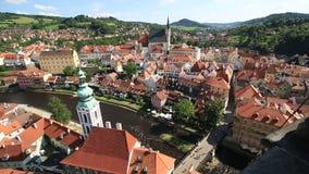 Historical center of Cesky Krumlov. Timelapse View stock video footage