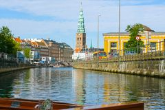 Historical center of Copenhagen seen from the canal stock images