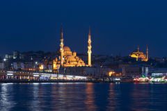 The historical center of Istanbul in the night stock photo