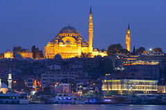 The historical center of Istanbul and Sulaymaniyah mosque in the night Royalty Free Stock Photo