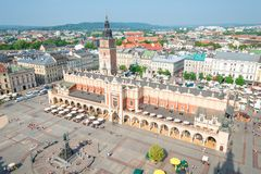 The historical center of Krakow in Poland, in a shot view from t. He top view of the shopping arcade, Tower Hall Royalty Free Stock Photo