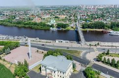 Historical center and Lovers Bridge. Tyumen.Russia Royalty Free Stock Image