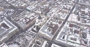 Historical center of Lviv city in winter from above. stock video footage
