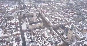 Historical center of Lviv city in winter from above. stock video