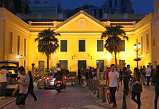 Historical center of Macau by night Royalty Free Stock Images