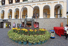 Historical center of Macau with statue of lovers Stock Photography