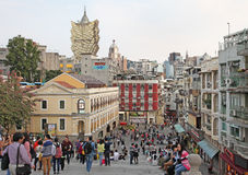 Historical center of Macau with view to Grand Lisboa casino Stock Photos