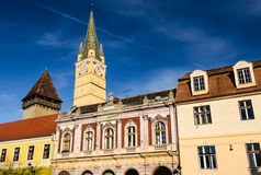 Historical center of Medias, Romania Royalty Free Stock Photo