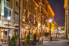The historical center at night. Bucharest's historical center is a central area of the capital area of about 0.50 square kilometers on the western edge of sector Stock Image