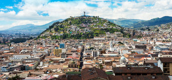 Historical center of old town Quito Stock Photos