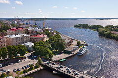 Historical center of old town Vyborg and sea port Royalty Free Stock Photography