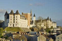 Historical center of Pau, capital of Bearn. Royal castle of the Rey of France Henri IV with Towers of Gaston Febus, followed by the Parlament of Navarra and Royalty Free Stock Image