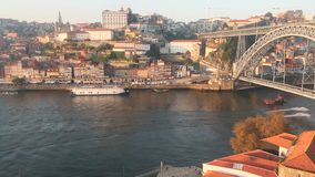 The historical center of Porto, Ribeira and the Douro river, Portugal. stock video