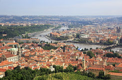 Historical center of Prague. View from Petrin Lookout Tower Royalty Free Stock Image