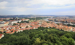 Historical center of Prague. View from Petrin Lookout Tower Royalty Free Stock Photos