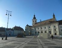 Historical Center  of Sibiu. SIBIU, ROMANIA -  FEBRUAR 4, 2014.  Historical Center  of Sibiu. Main Square in Sibiu Royalty Free Stock Photo
