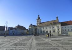 Historical Center  of Sibiu. SIBIU, ROMANIA -  FEBRUAR 4, 2014.  Historical Center  of Sibiu. Main Square in Sibiu Royalty Free Stock Image