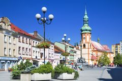 Historical center with st Jacob church in town Sokolov, West Bohemia, Czech republic. Protected town preserve. CZECH REPUBLIC, SOKOLOV - SEPT 22, 2015 stock photography