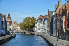 Historical centre of Bruges in sunny day royalty free stock photography