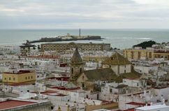 Historical centre of Cadiz and Castillo de San Sebastian Stock Images