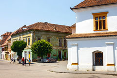 Historical centre of Medias, medieval city in Transylvania, Romania Stock Photography