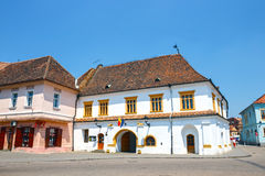Historical centre of Medias, medieval city in Transylvania, Romania Stock Images