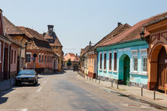 Historical centre of Medias, medieval city in Transylvania, Romania Royalty Free Stock Photography