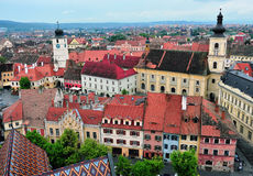 Historical centre of Sibiu city, Transylvania, Romania Royalty Free Stock Photos