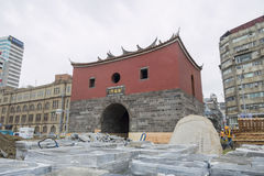 The historical Cheng En Gate under repairment construction Stock Photography