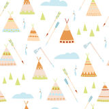Historical children`s seamless background. The tepees and tools of the American Indians Royalty Free Stock Image