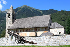 Historical church with frescos in Italian Pinzolo Stock Photos