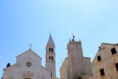 Architecture in Supetar, Croatia. Historical Church of Mary Annunciation, landmark in Supetar, island Brac, Croatia royalty free stock photo