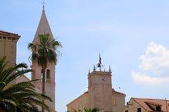 Architecture in Supetar, Croatia. Historical Church of Mary Annunciation, landmark in Supetar, island Brac, Croatia royalty free stock photos
