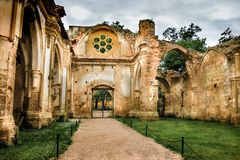 Abbey church in ruins. Historical church in ruins in Aragon Spain stock photos