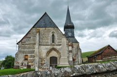 , historical church of Sigy en Bray Stock Photo