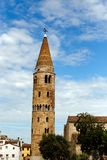 Historical church spire of Caorle Italy Royalty Free Stock Photos