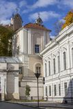 Historical church in Vilnius Old Town. Lithuania.  stock photo