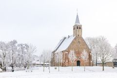 Historical church in winter. The historical Martinus church in Zwartewaal in the Netherlands during winter with snow and hoarfrosted trees Stock Image