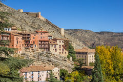 Historical city Albarracin in autumn colors Royalty Free Stock Photos