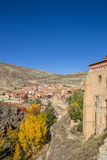 Historical city Albarracin in autumn colors Royalty Free Stock Photo
