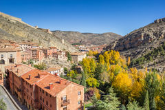 Historical city Albarracin in autumn colors Royalty Free Stock Images